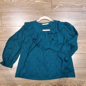 Zara green embroidered ruffle blouse